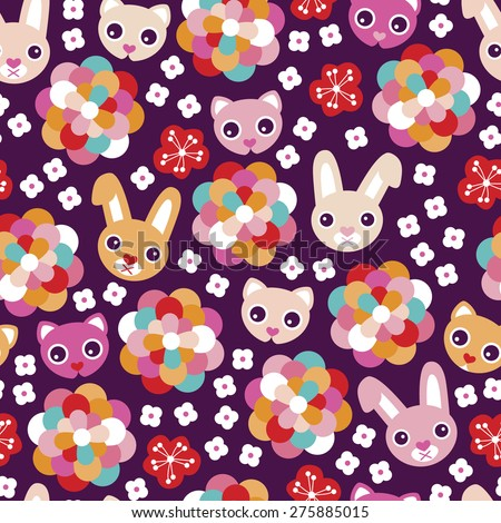 Seamless colorful kids animal rabbit and cat flower blossom background pattern illustration print in vector - stock vector