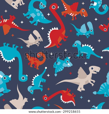Seamless colorful kids animals dinosaur creatures for boys illustration background pattern in vector - stock vector