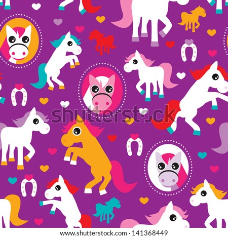 Seamless colorful kids pattern horse illustration background in vector - stock vector