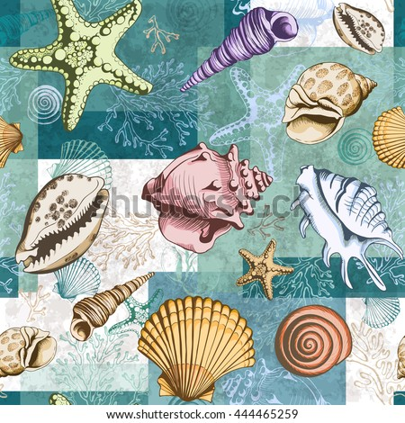 Seamless colorful layered pattern with seashells, corals and starfishes. Vector illustration in sketch style. Perfect for invitations, textile, wrapping paper, travel brochures, wedding and web design
