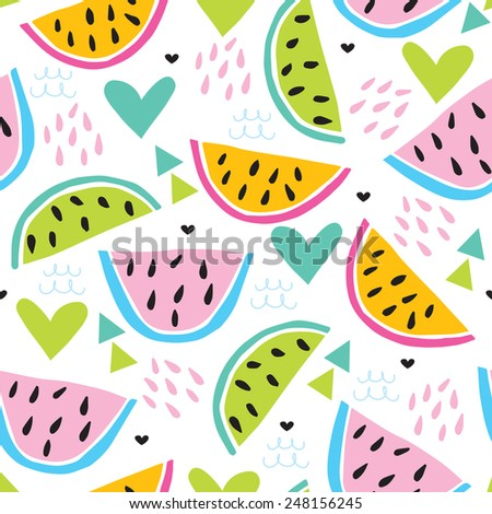 seamless colorful melon pattern vector illustration - stock vector