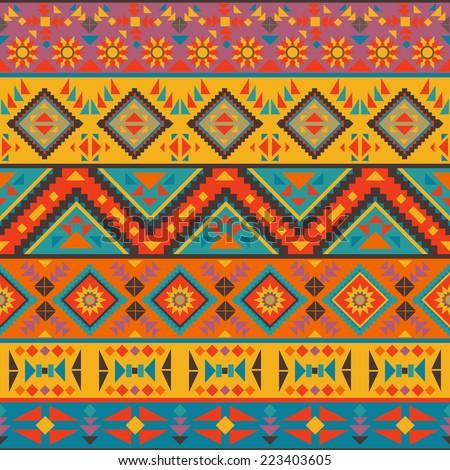 Seamless colorful navajo pattern - stock vector