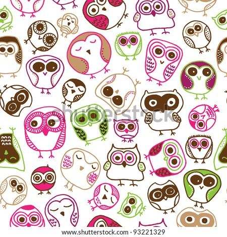 Seamless colorful owl doodle background pattern for kids in vector - stock vector