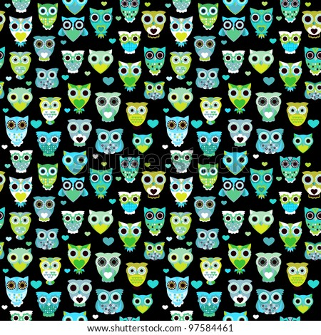Seamless colorful owl pattern for kids in vector - stock vector