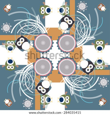 Seamless colorful owl pattern for kids vector - stock vector
