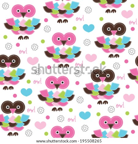 seamless colorful owl pattern vector illustration - stock vector