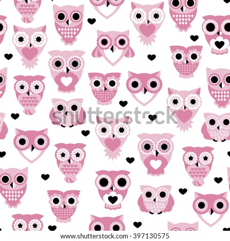 Seamless colorful owls love for kids owl bird pattern scandinavian retro pastel beige background pattern in vector - stock vector
