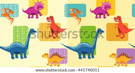 Seamless colorful painted backgrounds with dinosaurs