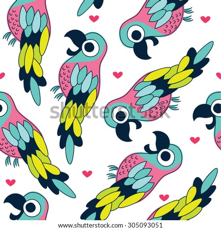 seamless colorful parrot pattern vector illustration - stock vector