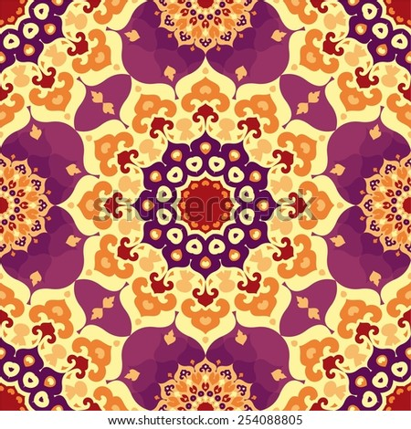 Seamless colorful pattern in oriental style. Colorful ornamental background with mandala elements. Islam, Arabic, Asian motifs - stock vector
