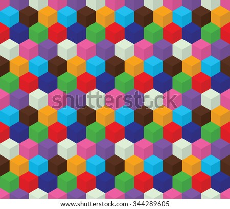 Seamless colorful pattern made from geometric element cube. Background. Optical illusion. Green, red, blue, broun, white, pink, violet colors, vector - stock vector