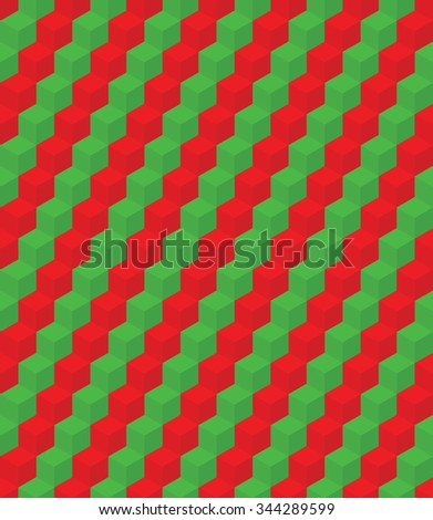 Seamless colorful pattern made from geometric element cube. Background. Optical illusion. Green and red colors, vector - stock vector