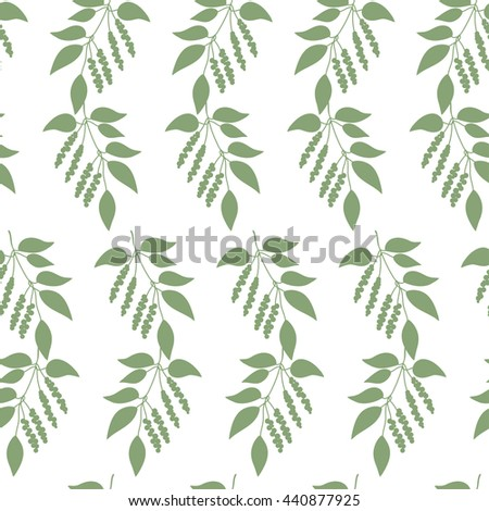 Seamless colorful pattern of Chinese Schisandra silhouette . Floral background. Vector illustration. - stock vector