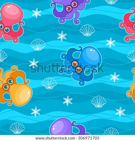 Seamless colorful pattern with cute cartoon octopus - stock vector