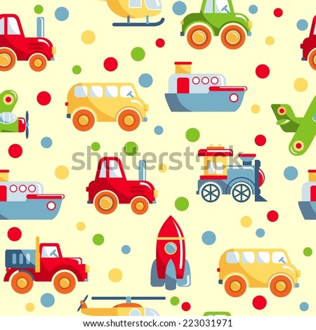Seamless colorful pattern with different kind of toys transport - stock vector