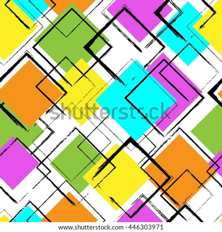 Seamless colorful pattern with squares. Vector abstract background.  - stock vector