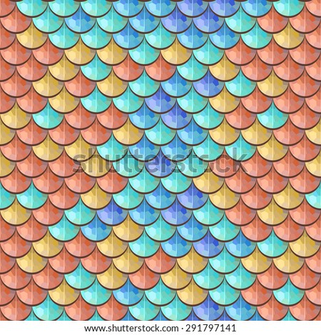 Seamless colorful polygonal river fish scales. A sample of fish scales pattern for packaging design, corporate identity or tissue. Vector illustration eps 10. RGB colors. - stock vector