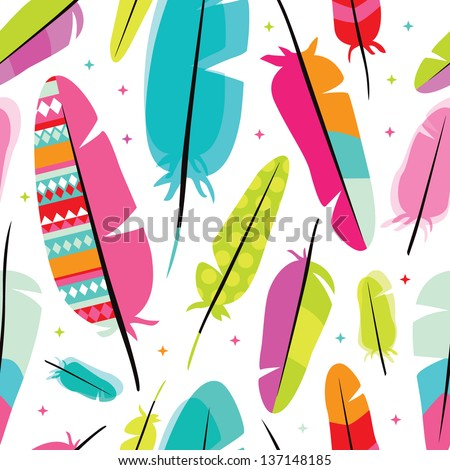 Seamless colorful retro bird isolated on white feather background pattern in vector - stock vector