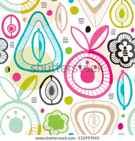 seamless colorful retro organic shape background pattern in vector - stock vector