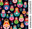 Seamless colorful retro Russian Doll illustration cover design background pattern in vector - stock vector