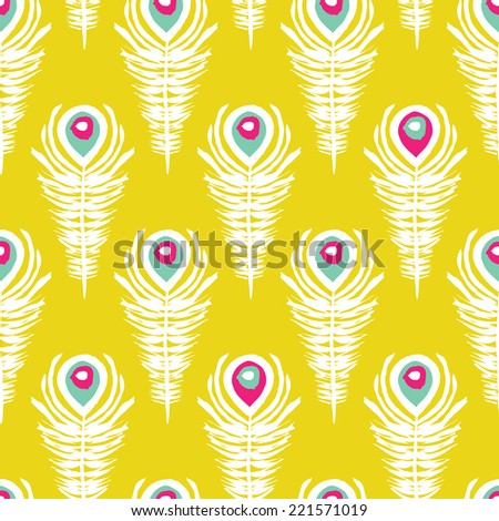 Seamless colorful retro style peacock feathers india bird theme background pattern in vector - stock vector