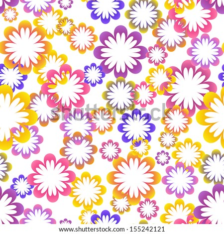Seamless colorful simple flower background - stock vector