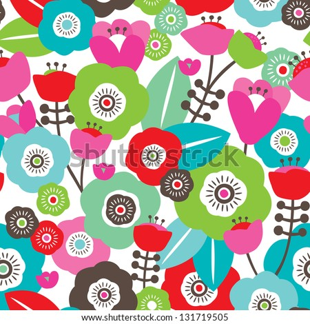 Seamless colorful spring flowers illustration floral background pattern in vector - stock vector