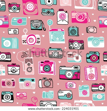 Seamless colorful vintage style hipster toy camera illustration background pattern in vector - stock vector