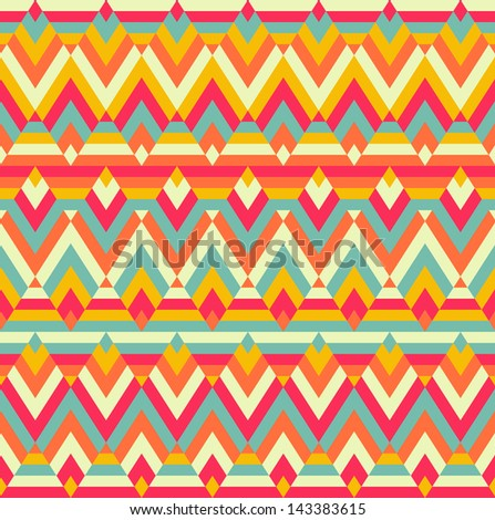 Seamless colorful zigzag vector rhombus ethnic pattern