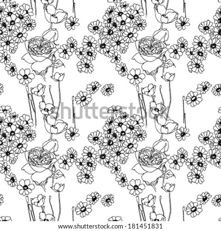 seamless Colorless flowers pattern, vector - stock vector