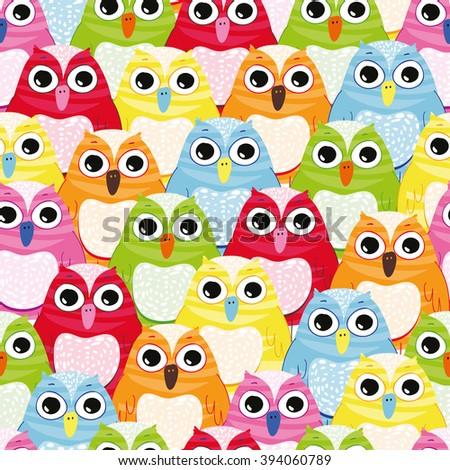 Seamless colourful owl pattern - stock vector