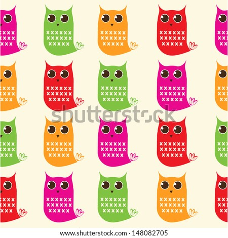 Seamless colourful owl pattern for kids in vector - stock vector