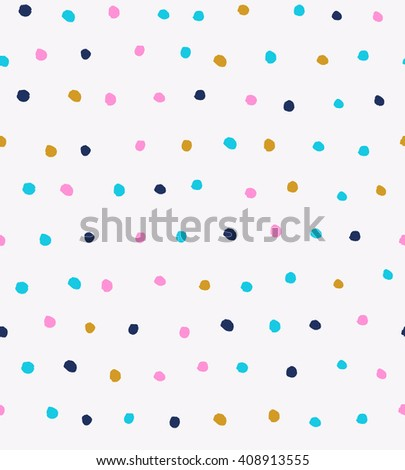 Seamless confetti background with hand drawn different colored round shaped confetti pieces