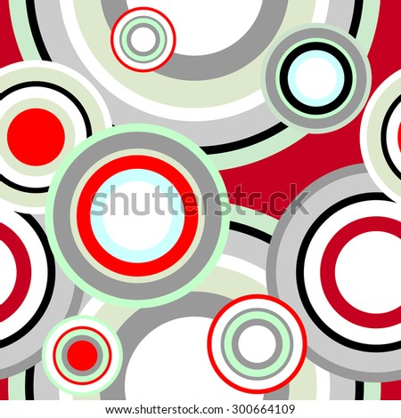 Seamless contrast circle retro pattern. Abstract geometrical vector background. 1960s collection. Black, white, red, grey on red. Backgrounds & textures shop. - stock vector