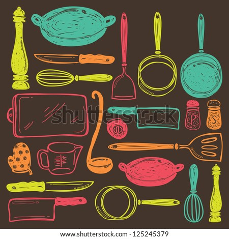 seamless cooking utensils - stock vector