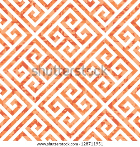 Seamless Coral Greek Key Background Pattern - stock vector