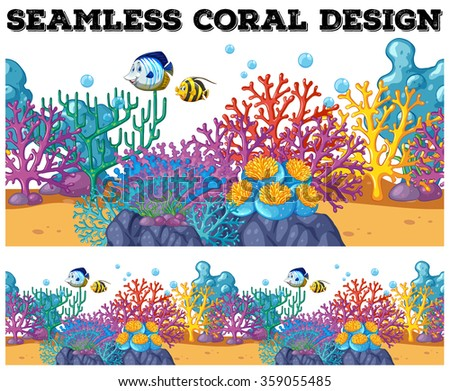 Seamless coral reef under the ocean illustration - stock vector