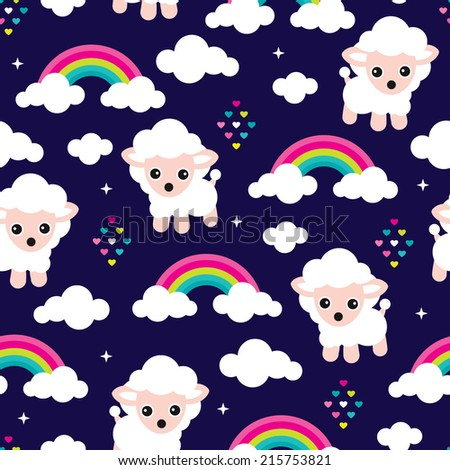 Seamless counting sheep illustration and rainbow cloud nights kids background pattern in vector - stock vector