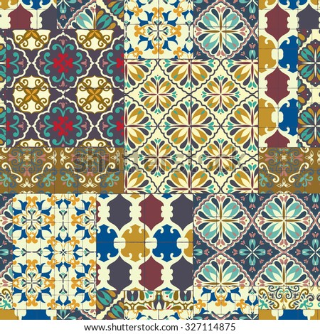 Seamless cracked pattern of ceramic tiles - patterns, RETRO blue-orange-red-violet-beige style.