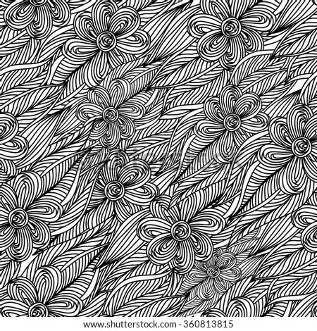 Seamless creative hand-drawn floral pattern. Vector illustration. - stock vector