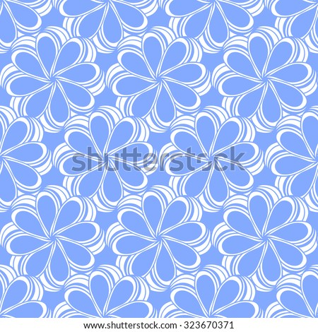 Seamless creative hand-drawn pattern composed of stylized flowers in white and cornflower blue colors. Vector illustration.
