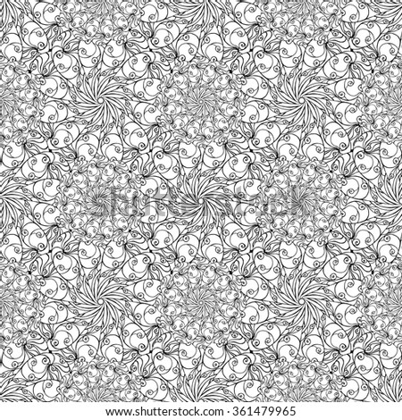Seamless creative hand-drawn pattern of stylized flowers in black and white. Vector illustration. - stock vector