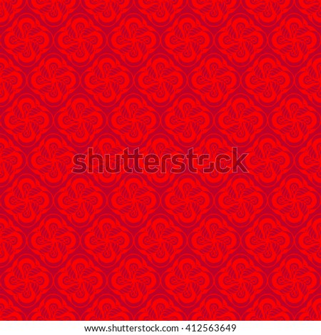 Seamless creative hand-drawn pattern of stylized flowers in bright scarlet and maroon colors. Vector illustration. - stock vector