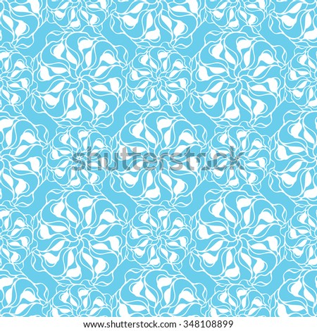 Seamless creative hand-drawn pattern of stylized flowers in light turquoise and white colors. Vector illustration.