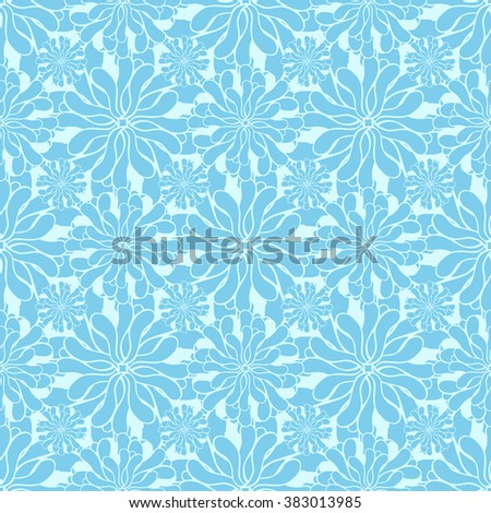 Seamless creative hand-drawn pattern of stylized flowers in pale cyan and light turquoise colors. Vector illustration.