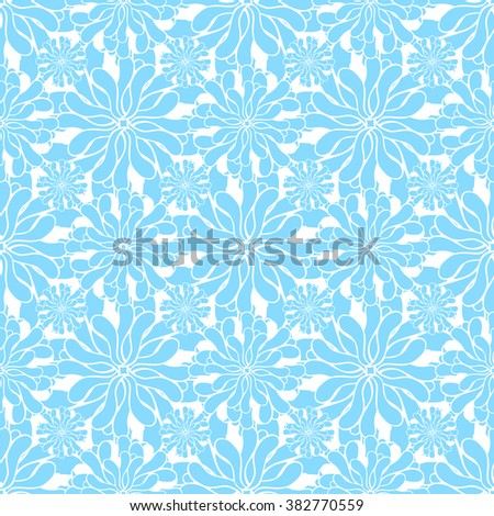 Seamless creative hand-drawn pattern of stylized flowers in pale cyan and white colors. Vector illustration.