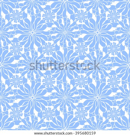 Seamless creative hand-drawn pattern of stylized flowers in white and light cornflower blue colors. Vector illustration.