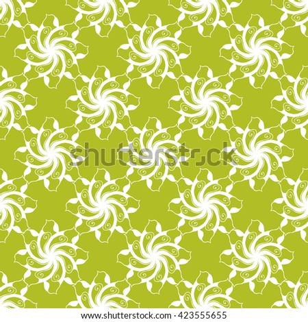 Seamless creative hand-drawn pattern of stylized flowers in white and yellow-green colors. Vector illustration.