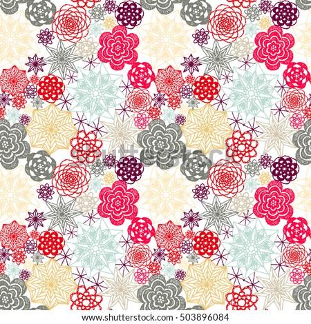 Seamless Crochet Flowers Pattern New Year Stock Vector 503896084