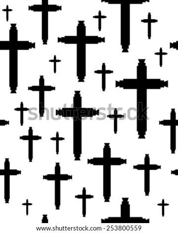 Seamless crosses  pattern - stock vector